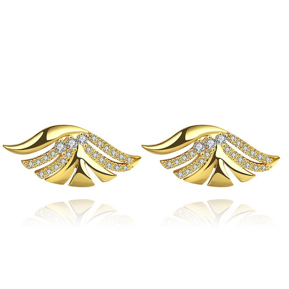 Vienna Jewelry Gold Plated Wings Stud Earrings