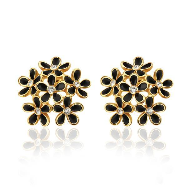 Vienna Jewelry 18K Gold Studs With Multiple Floral Petals Made with Swarovksi Elements