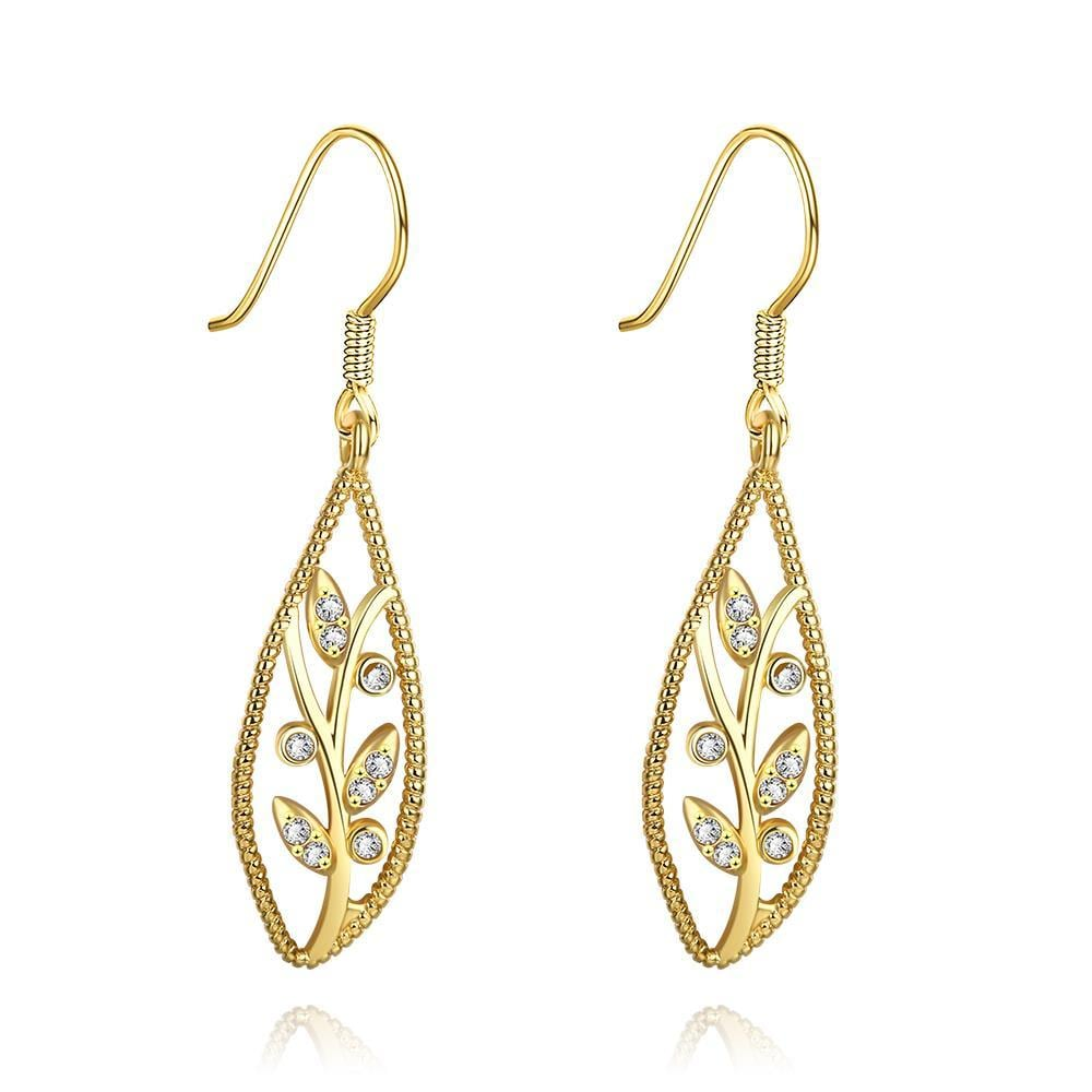 Vienna Jewelry Gold Plated Olive Branch Drop Down Earrings