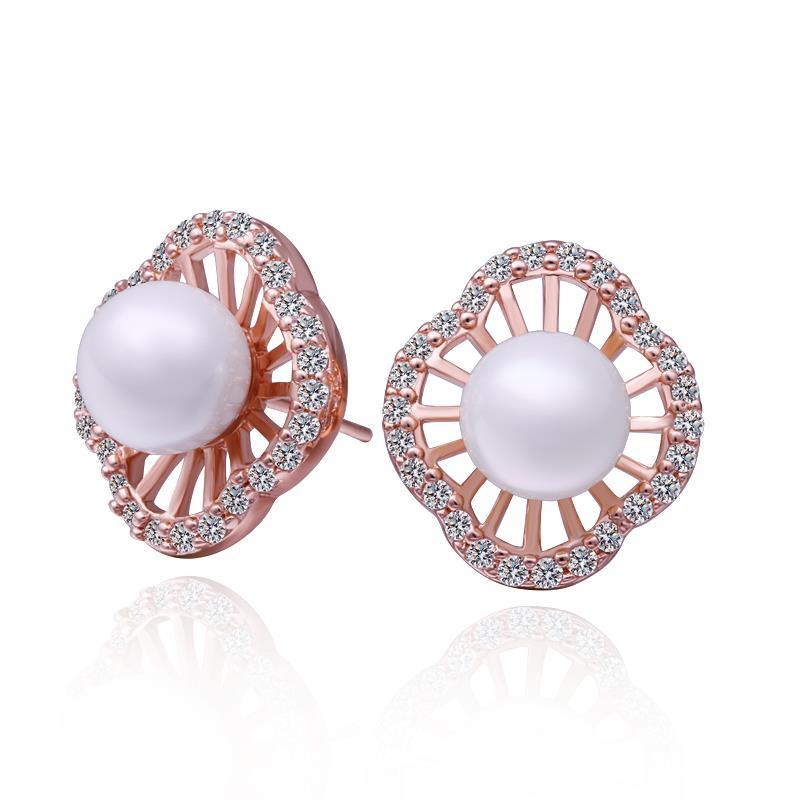 Vienna Jewelry 18K Rose Gold Pearl Design Stud Earrings Made with Swarovksi Elements