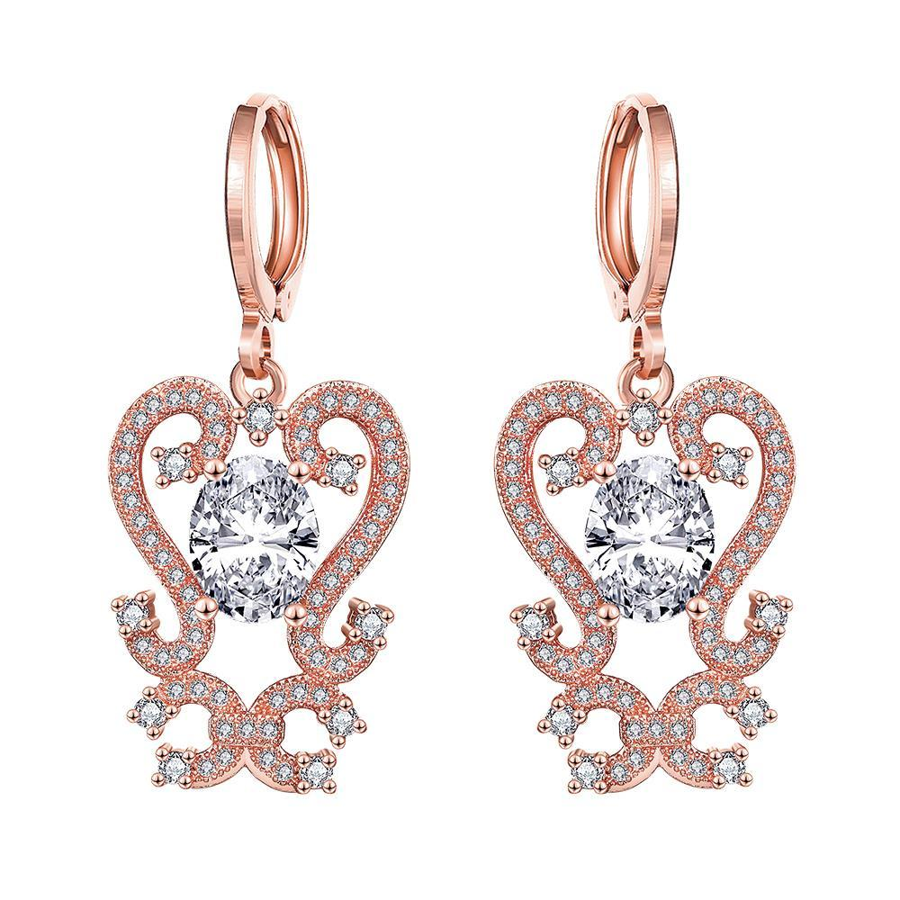Vienna Jewelry Rose Gold Plated Intermatrix Design Drops with Crystal Jewel