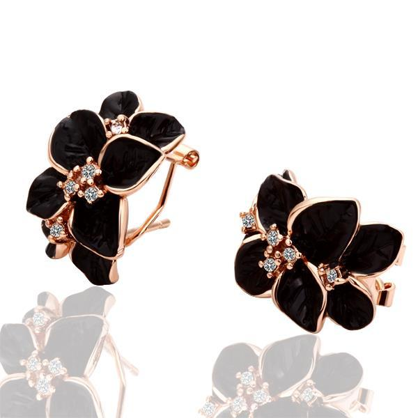 Vienna Jewelry 18K Rose Gold Black Petals Earrings Made with Swarovksi Elements