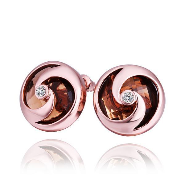 Vienna Jewelry 18K Rose Gold Stud Earrings with Orange Citrine Jewel Made with Swarovksi Elements