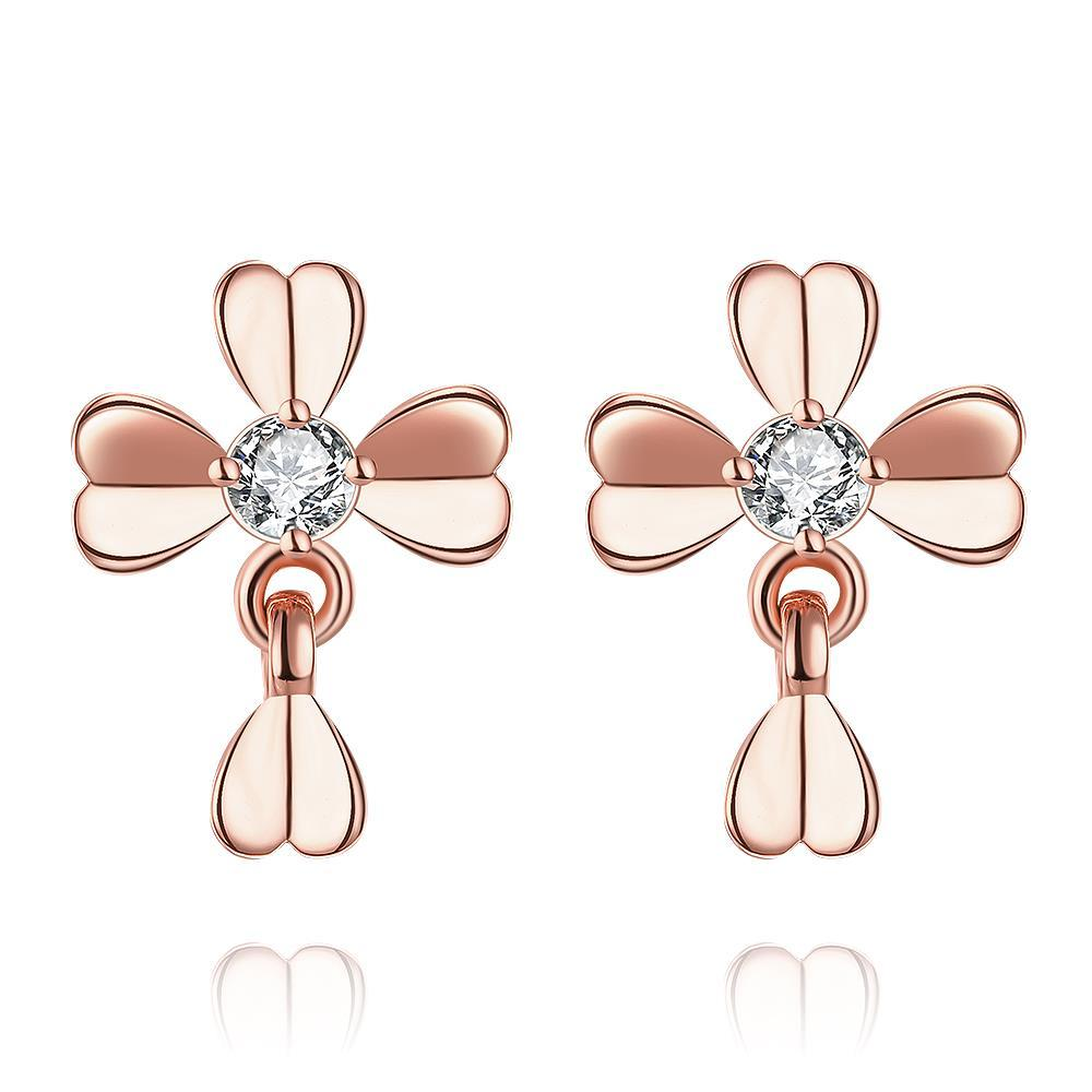 Vienna Jewelry Rose Gold Plated Classic Modern Clover Stud Earrings