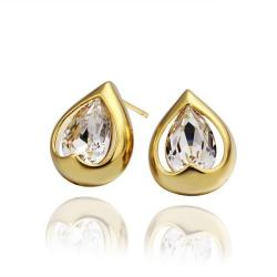 Vienna Jewelry 18K Gold Acorn Shaped Stud Earrings Made with Swarovksi Elements - Thumbnail 0