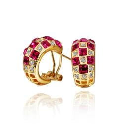 Vienna Jewelry 18K Gold Ruby Crystals 1/2 Hoop Earrings Made with Swarovksi Elements - Thumbnail 0
