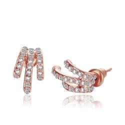 Vienna Jewelry 18K Rose Gold Trio Lined Abstract Earrings Made with Swarovksi Elements