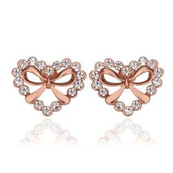 Vienna Jewelry 18K Rose Gold Hollow Hearts Covered with Crystals Studs Made with Swarovksi Elements - Thumbnail 0