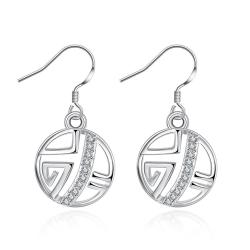 Vienna Jewelry White Gold Plated Laser Cut Circular Artistic Drop Down Earrings - Thumbnail 0