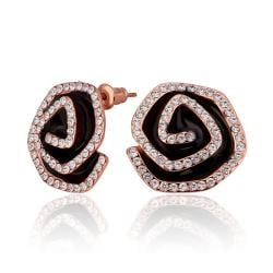Vienna Jewelry 18K Rose Gold Angle Swirls Studs Made with Swarovksi Elements - Thumbnail 0