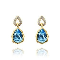 Vienna Jewelry 18K Gold Saphire Gem Stud Earrings Made with Swarovksi Elements - Thumbnail 0