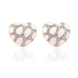 Vienna Jewelry 18K Rose Gold Heart Shaped Ivory Gem Stud Earrings Made with Swarovksi Elements - Thumbnail 0
