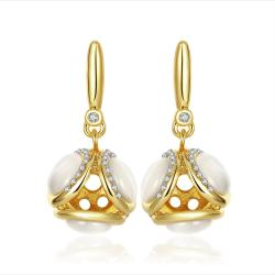 Vienna Jewelry 18K Gold Double Side Pearls Drop Down Earrings Made with Swarovksi Elements