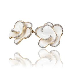 Vienna Jewelry 18K Gold Ivory Colored Rose Petal Stud Earrings Made with Swarovksi Elements - Thumbnail 0