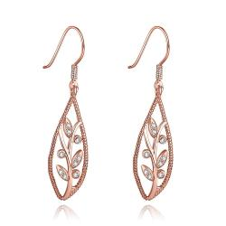 Vienna Jewelry Rose Gold Plated Olive Branch Drop Down Earrings - Thumbnail 0