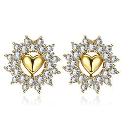 Vienna Jewelry Gold Plated Floral Petal Jewels Covered Studs - Thumbnail 0