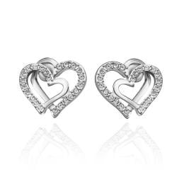Vienna Jewelry 18K White Gold Intertwined Hearts Studs Made with Swarovksi Elements