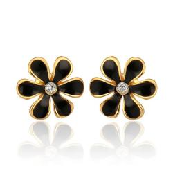 Vienna Jewelry 18K Gold Onyx Floral Petal Stud Earrings Made with Swarovksi Elements - Thumbnail 0