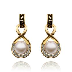 Vienna Jewelry 18K Gold Drop Down Earring with Pearl Center Made with Swarovksi Elements - Thumbnail 0