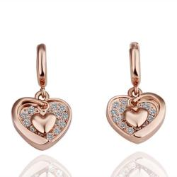 Vienna Jewelry 18K Gold Classic Heart Shaped Drop Down Earrings Made with Swarovksi Elements