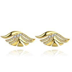 Vienna Jewelry Gold Plated Wings Stud Earrings - Thumbnail 0