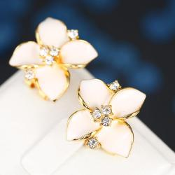 Vienna Jewelry 18K Gold Classic Ivory Rose Petal Earrings Made with Swarovksi Elements - Thumbnail 0