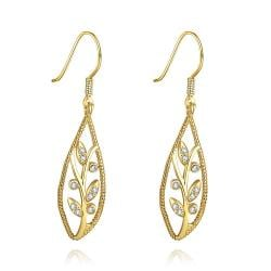 Vienna Jewelry Gold Plated Olive Branch Drop Down Earrings - Thumbnail 0