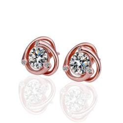 Vienna Jewelry 18K Rose Gold Earrings with Austrian Crystal Jewels Made with Austrian Crystal Elements - Thumbnail 0