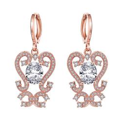Vienna Jewelry Rose Gold Plated Intermatrix Design Drops with Crystal Jewel - Thumbnail 0