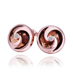 Vienna Jewelry 18K Rose Gold Stud Earrings with Orange Citrine Jewel Made with Swarovksi Elements - Thumbnail 0