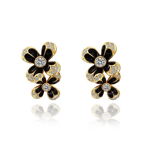 Vienna Jewelry 18K Gold Floral Onyx Covering Drop Down Earrings Made with Swarovksi Elements