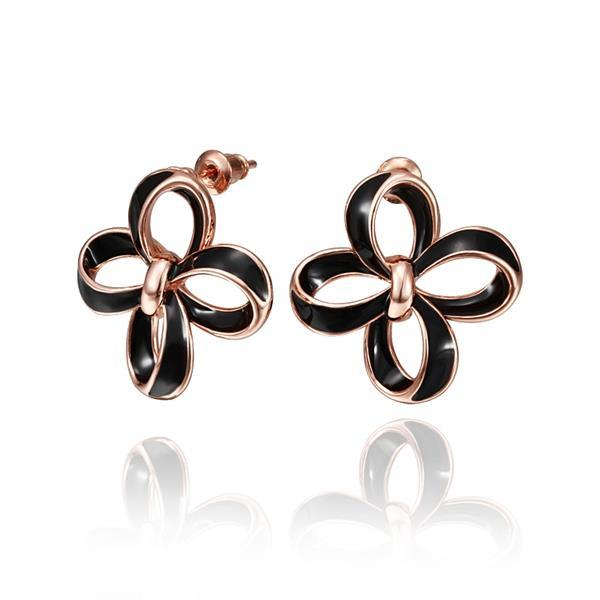 Vienna Jewelry 18K Rose Gold Hollow Floral Petals Stud Earrings Made with Swarovksi Elements