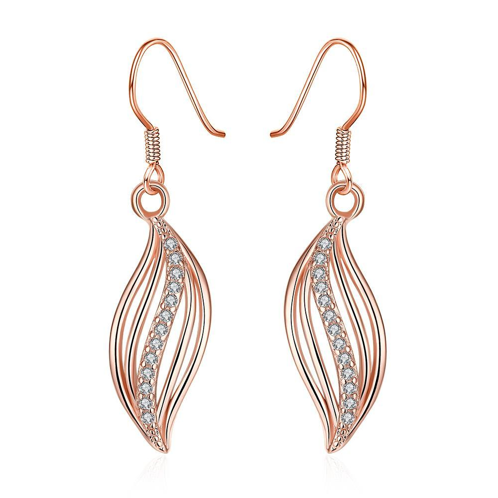 Vienna Jewelry Rose Gold Plated Comet Inspired Drop Down Earrings