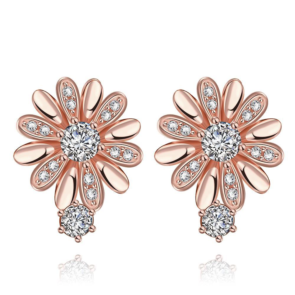 Vienna Jewelry Rose Gold Plated Floral Petal Stud Earrings