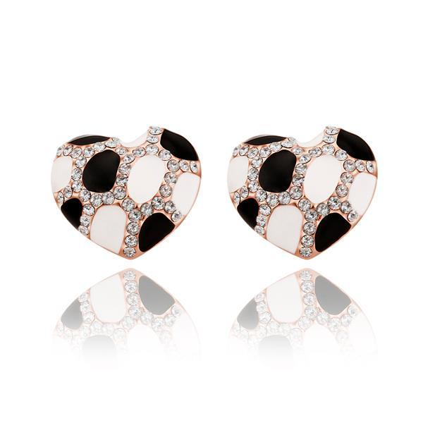 Vienna Jewelry 18K Rose Gold Heart Shaped Ivory & Onyx Gem Stud Earrings Made with Swarovksi Elements