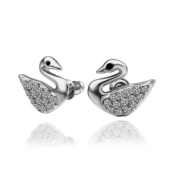 Vienna Jewelry 18K White Gold Dove Shaped Stud Earrings Made with Swarovksi Elements