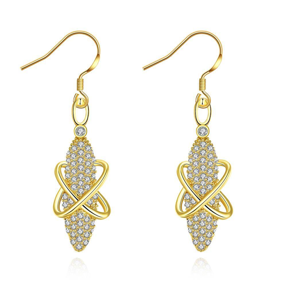 Gold Plated Vertical Gemstone Drop Earrings - Thumbnail 0