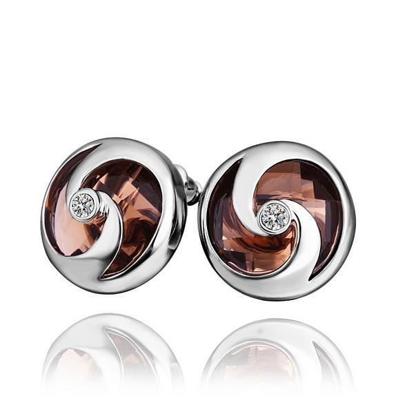 Vienna Jewelry 18K White Gold Stud Earrings with Orange Citrine Jewel Made with Swarovksi Elements