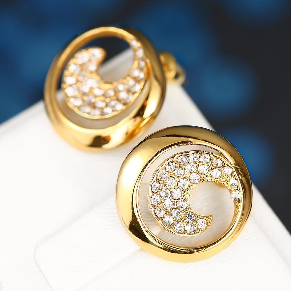 Vienna Jewelry 18K Gold Swirl Stud Earrings Covered with Jewels Made with Swarovksi Elements