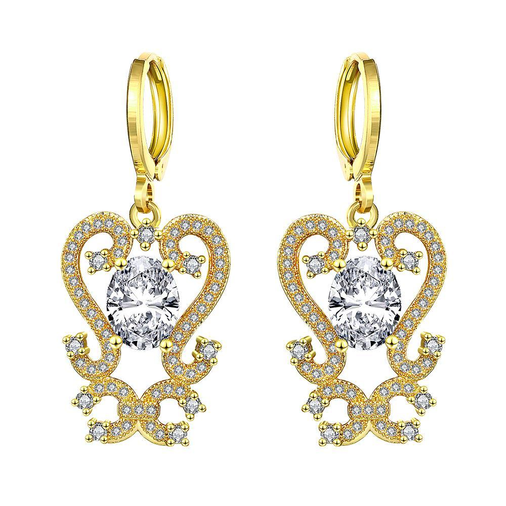 Vienna Jewelry Gold Plated Intermatrix Design Drops with Crystal Jewel