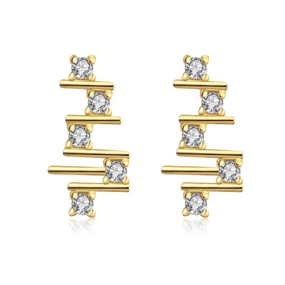 Vienna Jewelry Gold Plated Abstract Horizontal Lines Drops