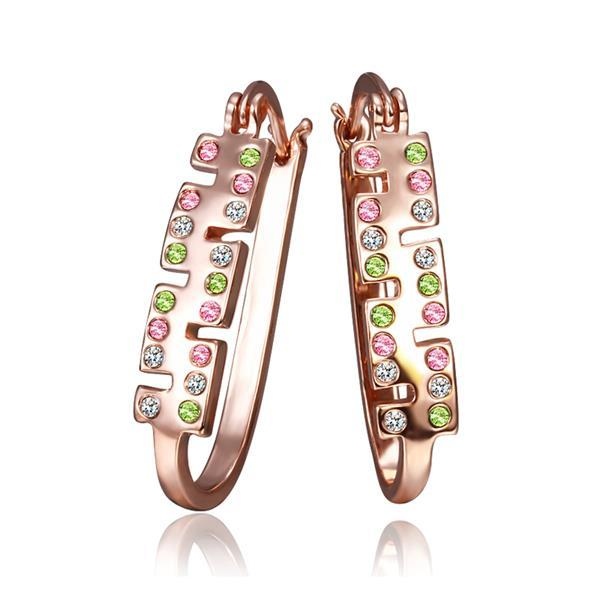 Vienna Jewelry 18K Rose Gold Rainbow Colored Jewels 1/2 Hoop Earrings Made with Swarovksi Elements