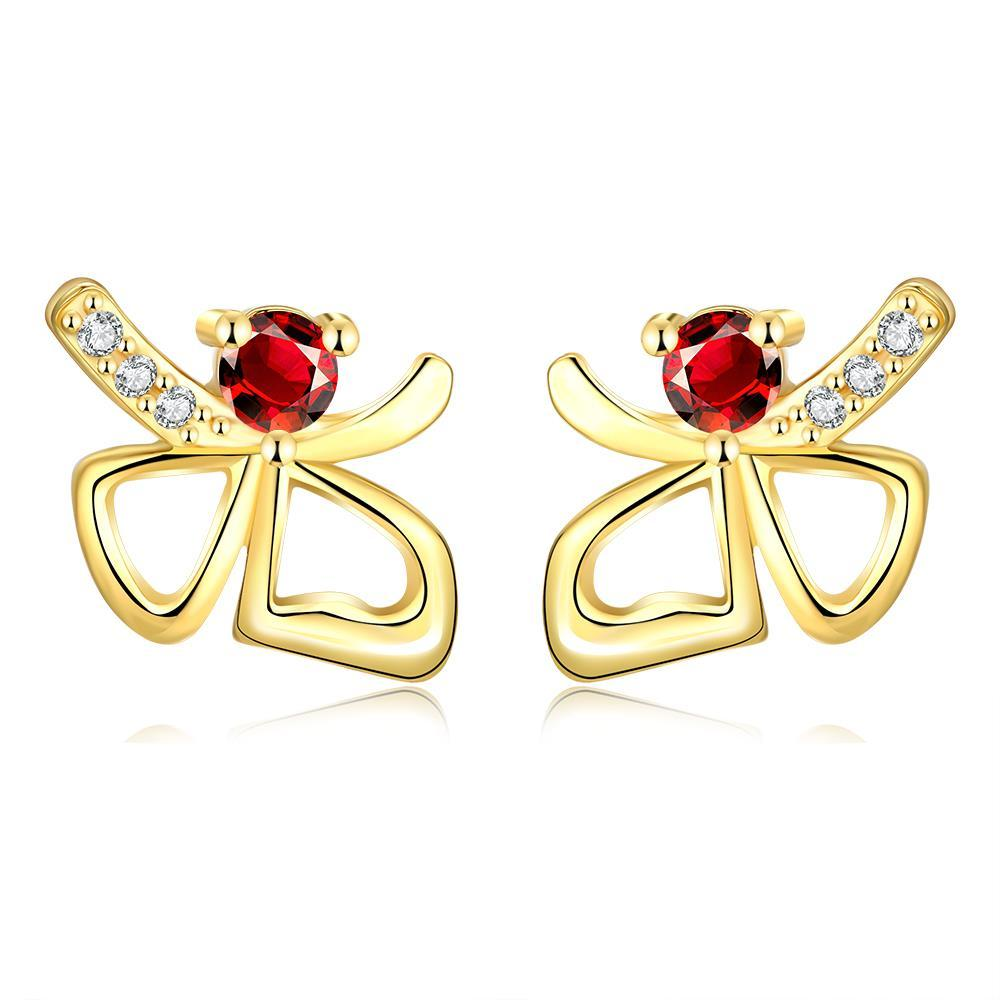 Vienna Jewelry Gold Plated Double Hearts Ruby Gem Studs