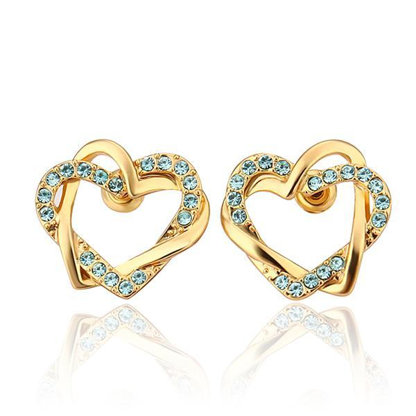 Vienna Jewelry 18K Gold Saphire Covered Hollow Hearts Stud Earrings Made with Swarovksi Elements