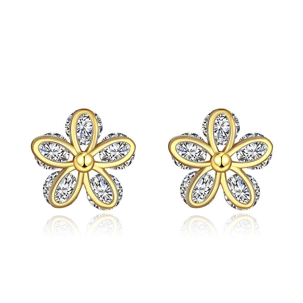 Vienna Jewelry Gold Plated Classic Double Floral Petal Studs