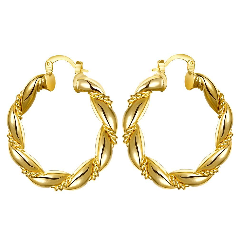 Vienna Jewelry Gold Plated Polished Small Hinged Hoop Earrings