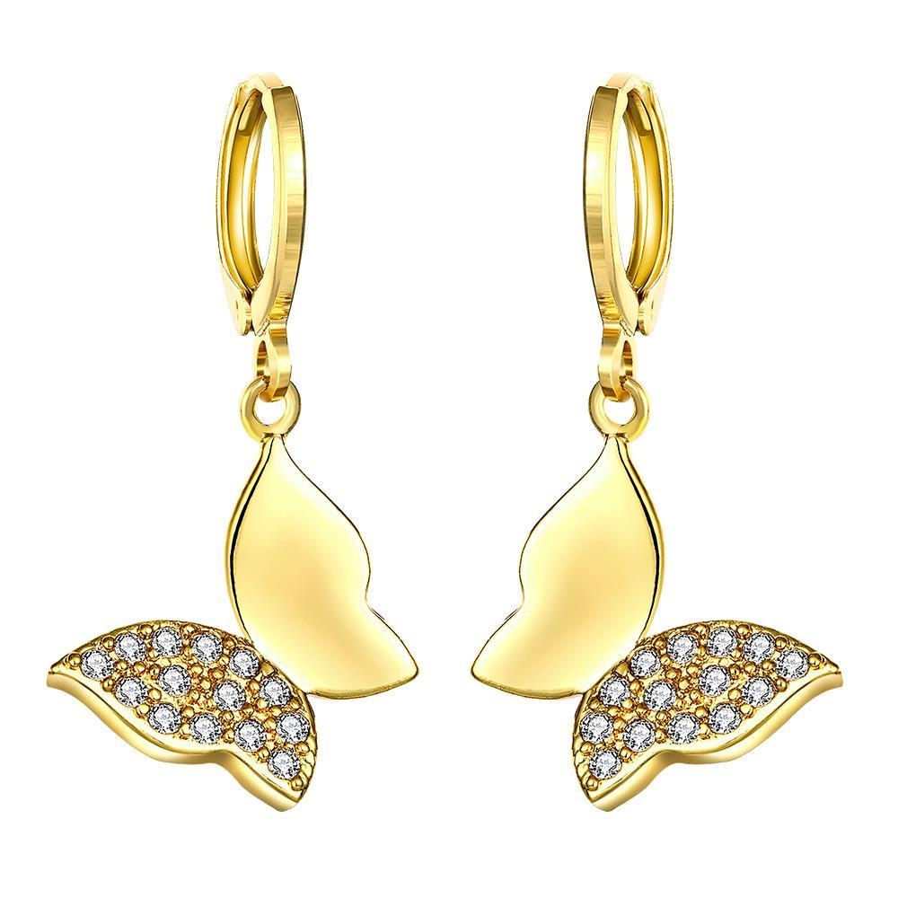 Gold Plated Half Covered Butterfly Drop Earrings