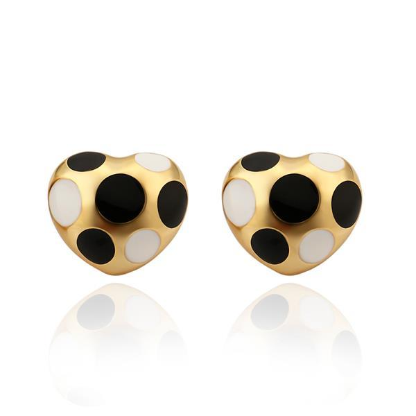 Vienna Jewelry 18K Gold Mini Heart Shaped Ivory & Onyx Gems Earrings Made with Swarovksi Elements