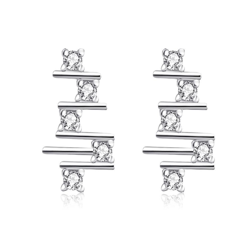 Vienna Jewelry White Gold Plated Abstract Horizontal Lines Drops