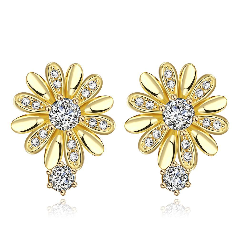 Vienna Jewelry Gold Plated Floral Petal Stud Earrings